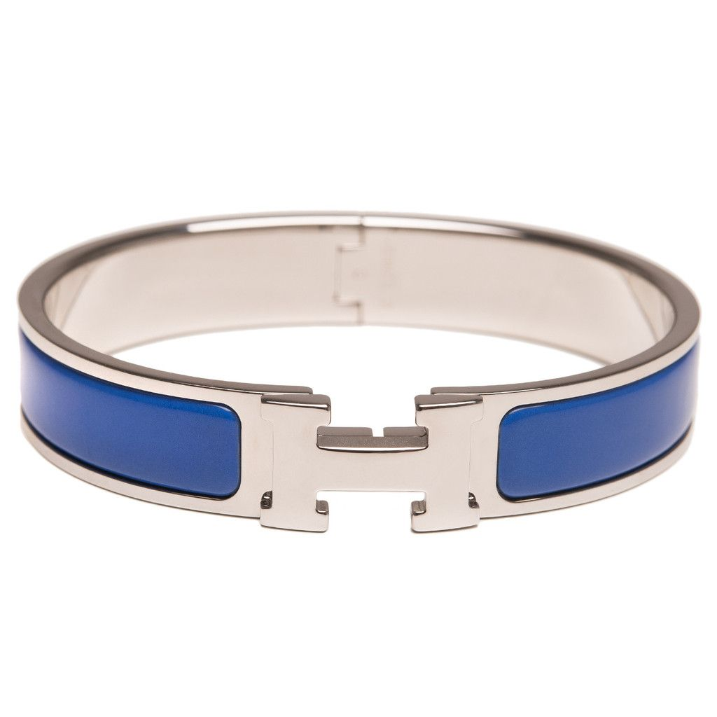 f1987ad1f3 Hermes narrow Clic Clac H bracelet in Royal Blue enamel with palladium  plated hardware in size PM. AVAILABLE NOW For purchase inquiries, Please  Contact: ...