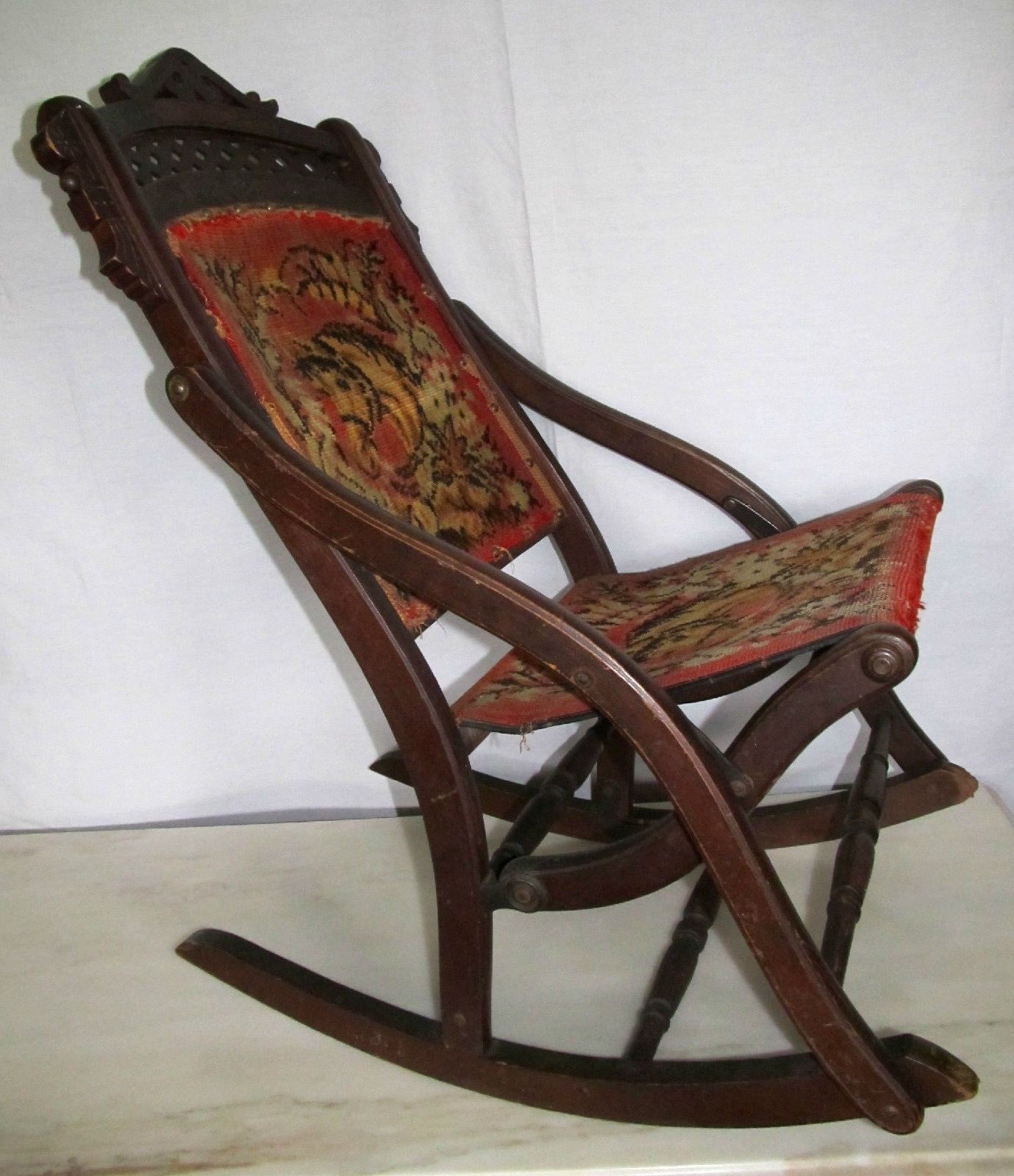 Victorian rocking chair -  Antiques Gifts Nice Antique Victorian Eastlake Folding Carpet Rocker Rocking Chair Horses