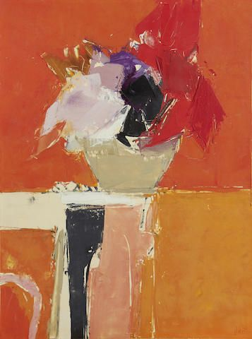 Donald Hamilton Fraser (British, 1929-2009) Still life of flowers against orange background unframed