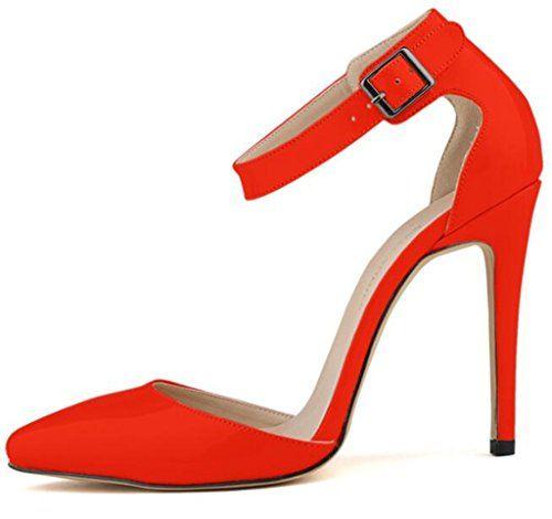 LI&HI Damen Vintage Stilvolle komfortable Lackleder flacher Mund Süßigkeiten Farbe hohlen Gürtelschnalle spitze Schuhe Sandalen Fußring Gurt High Heels - http://on-line-kaufen.de/li-hi/39-eu-li-hi-damen-vintage-stilvolle-komfortable-15