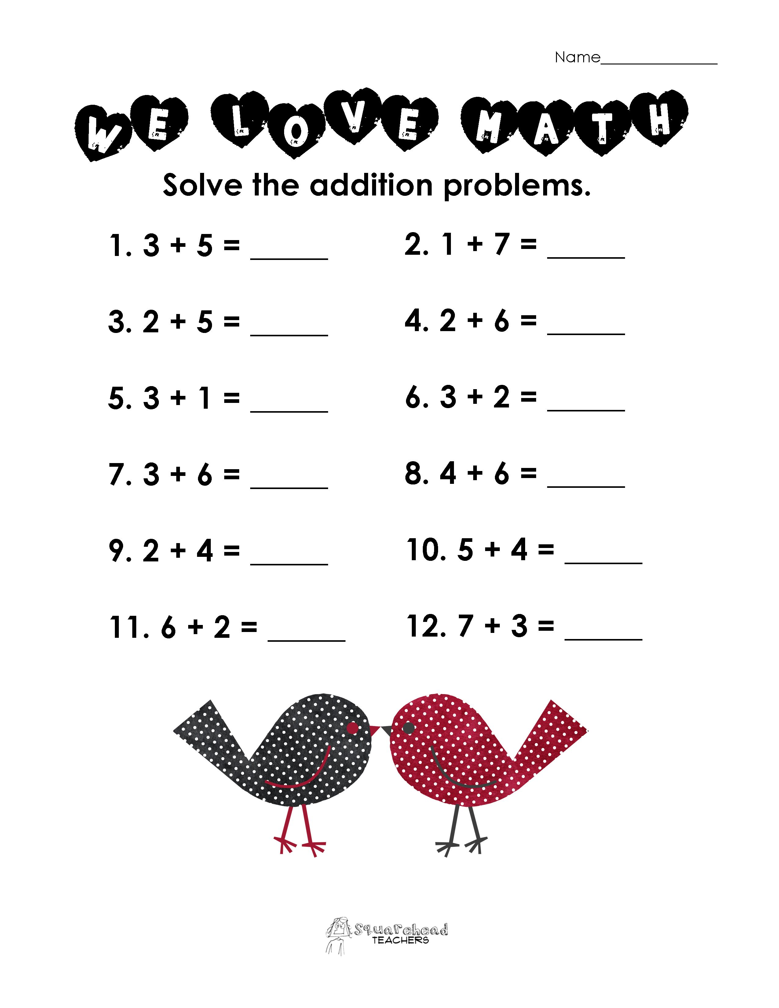 Valentine Worksheets For Second Graders. Valentines Day Math Simple ...