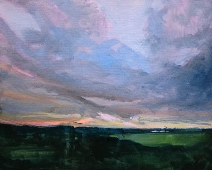 ARTFINDER: Sunset Over Graveney Marshes No.2 by Paul Mitchell - Original acrylic on block canvas painting of a landscape view near Faversham in Kent during a September dusk.  Produced Sep 2015.