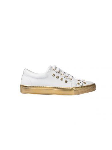 SONIA RYKIEL White Leather Sneakers. #soniarykiel #shoes #sneakers