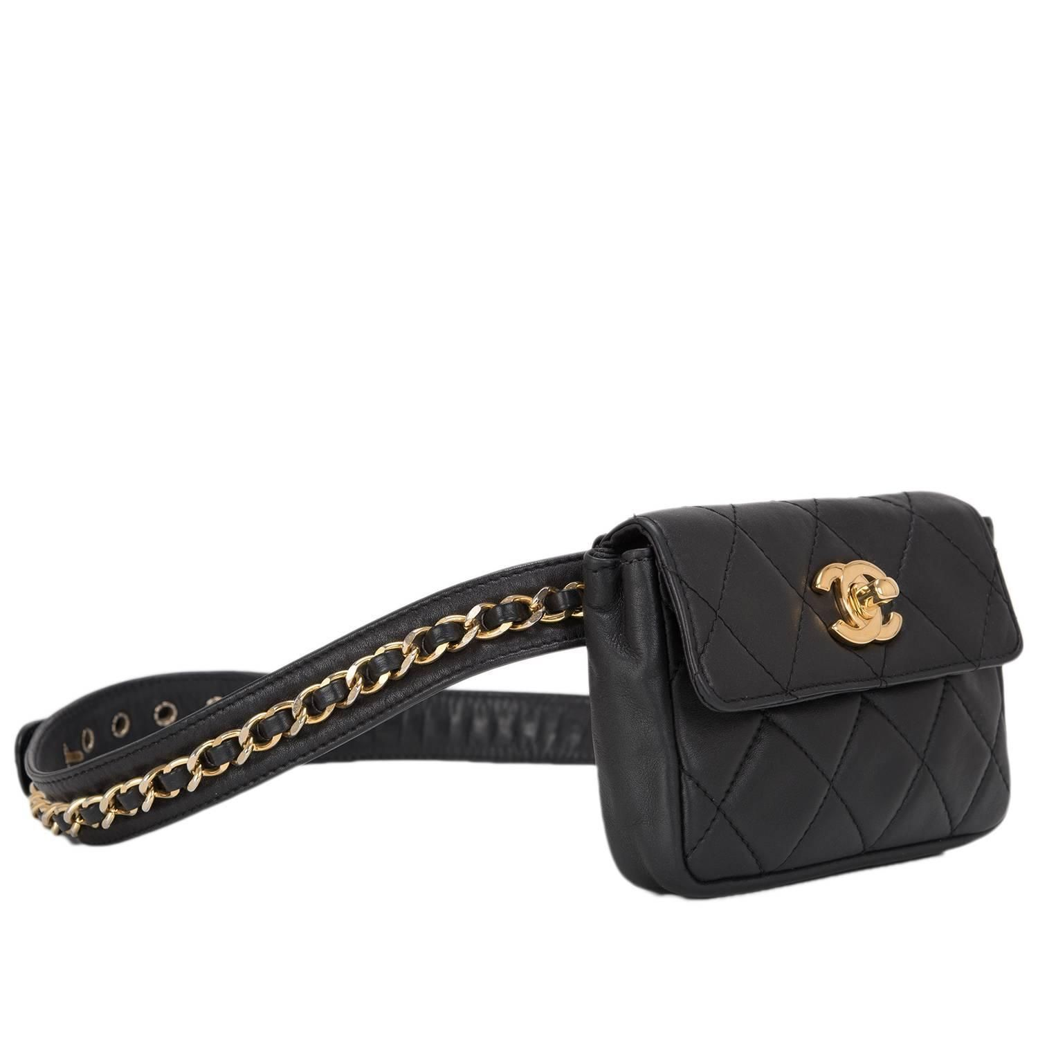 36c383a643b845 Chanel Vintage Black Quilted Lambskin Iconic Chained Fanny Pack image 2