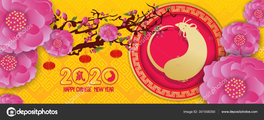 Download Happy new year 2020 Year of the Rat. Blossom