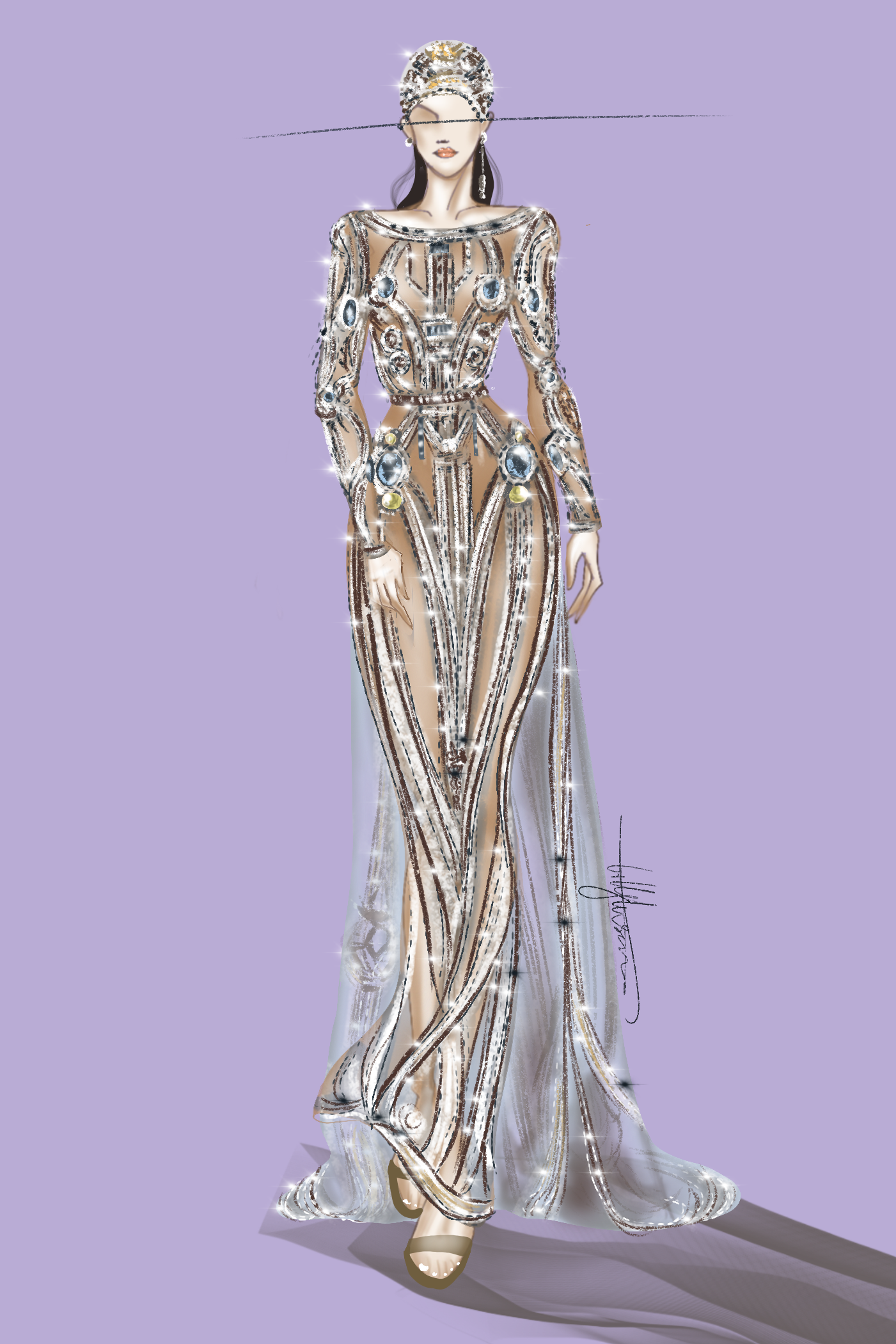 Digital Fashion Illustration Of Couture Dress In 2020 Digital Fashion Illustration Fashion Illustration Fashion