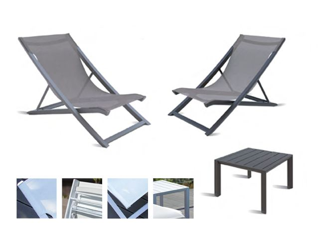 Grosfillex Sunset Collection Deck Chairs With Side Table Exclusive Brands From Alma Contract