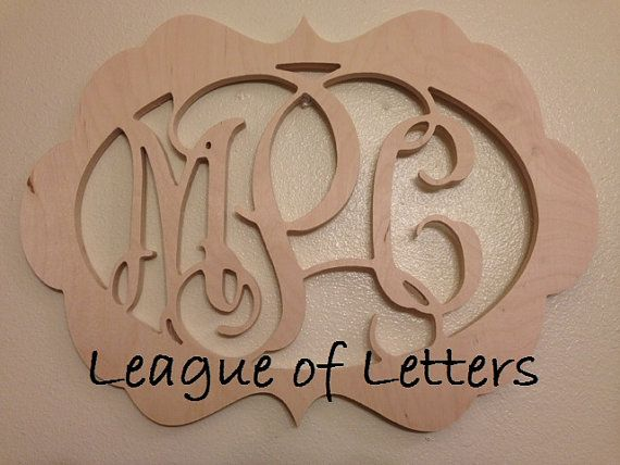 18 inch Ornate Border Wooden Monogram Letters by LeagueofLetters