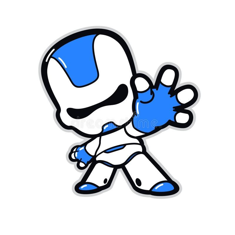 Illustration Of A Robot Character With A Raised Hand Vector