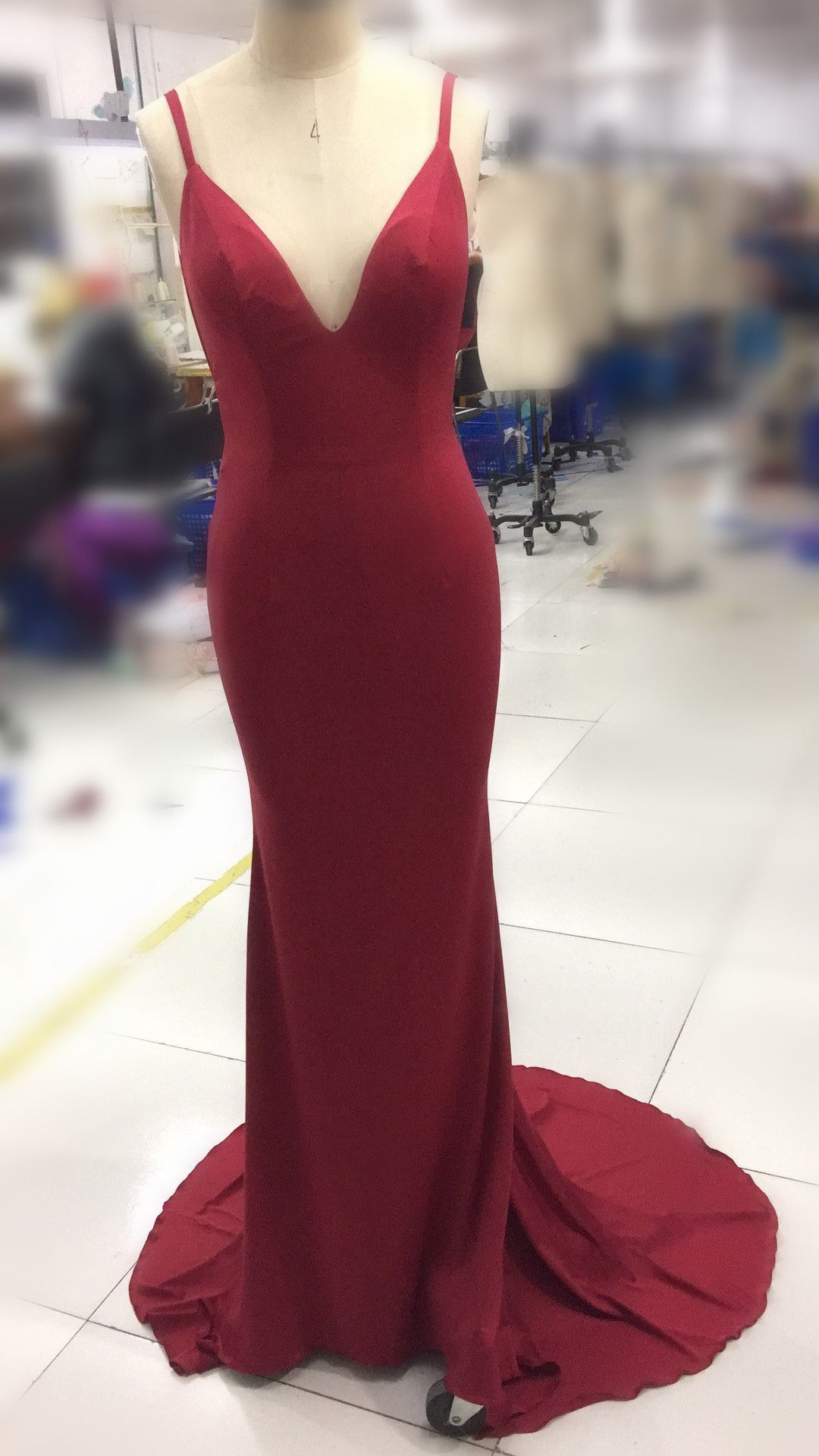 Red sexy spandex mermaid backless long formal gowns dark red party