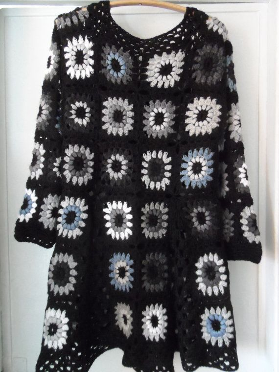Crochet granny square gipsy hippie boho black gray coat jacket ...