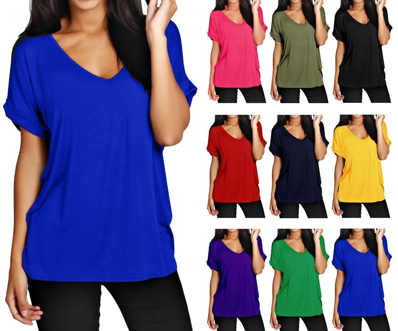50d7d1a50c4ce Women Batwing Sleeve Oversized Baggy Loose Fit Turn Up Top Ladies V Neck T  Shirt