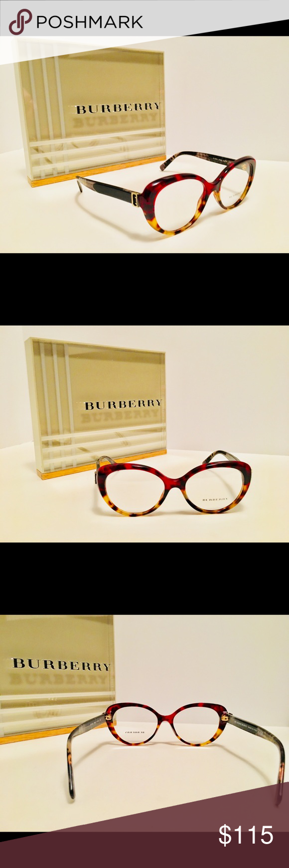 1722d3a3d59 Burberry Eyeglasses B2251 3635 Red Havana Light Size  51-16-140 Demo Lens  Rx-Able Frame Only (no case) Burberry Accessories Glasses