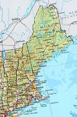 Map: find New England states (Maine, Vermont, New Hampshire