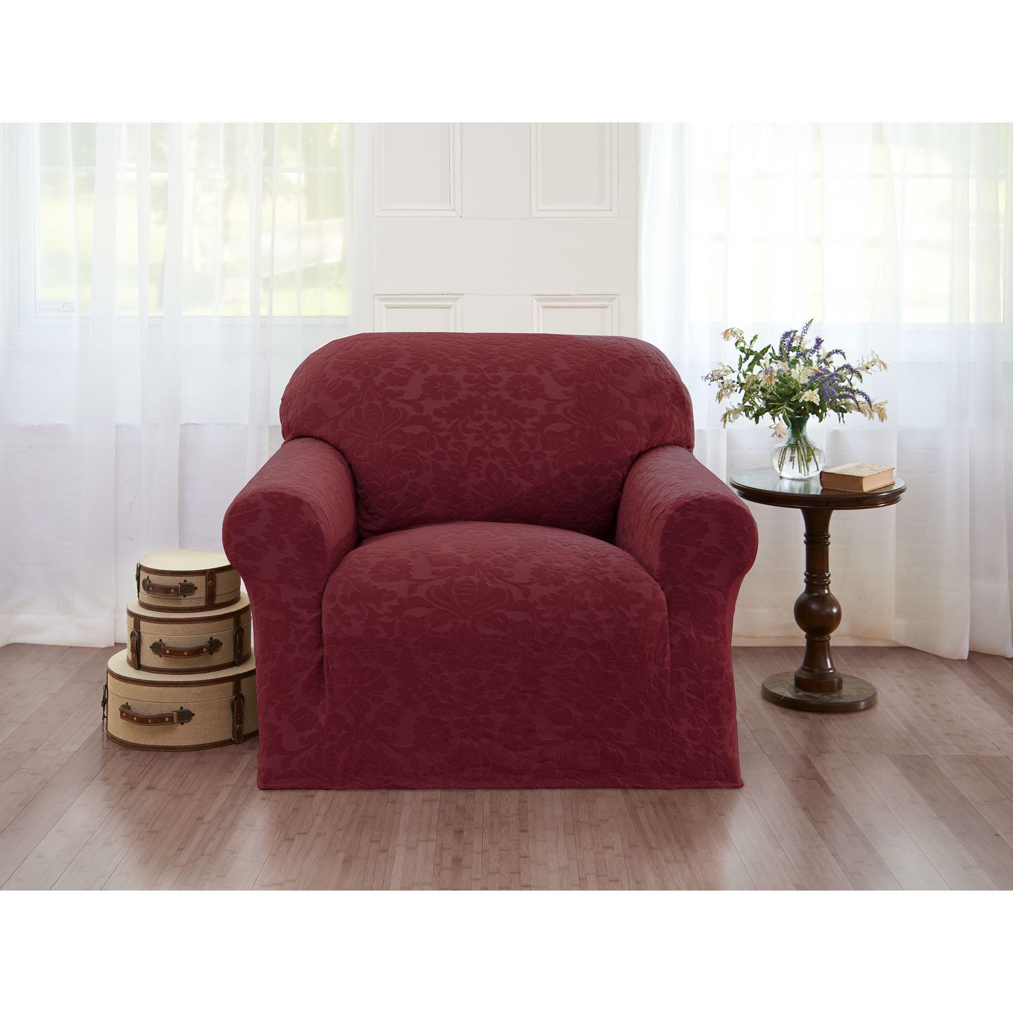 Madison Velvet Damask Chair Slipcover (Burgundy Velvet Damask Chair Slipcover), Purple (Design)