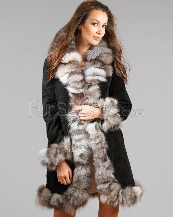 Suede Leather Coat with Silver #FoxFur Trim   Our Best Selling ...