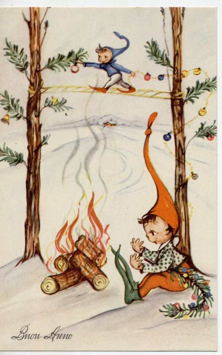 New Year Elf Gnomes Complete set of 6 postcards Vintage PC Circa ...