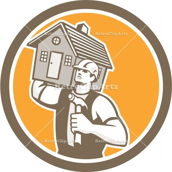 artwork, builder, carpenter, carry, carrying, circle, construction, graphic, hammer, house, illustration, industrial, isolated, male, man, r...