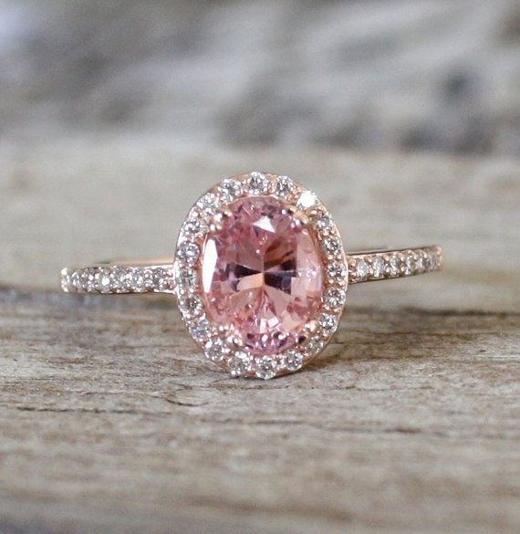 Hey i found this really awesome etsy listing at httpetsy pink peach sapphire diamond halo ring in cts pink peach sapphire diamond halo ring in by junglespirit Images