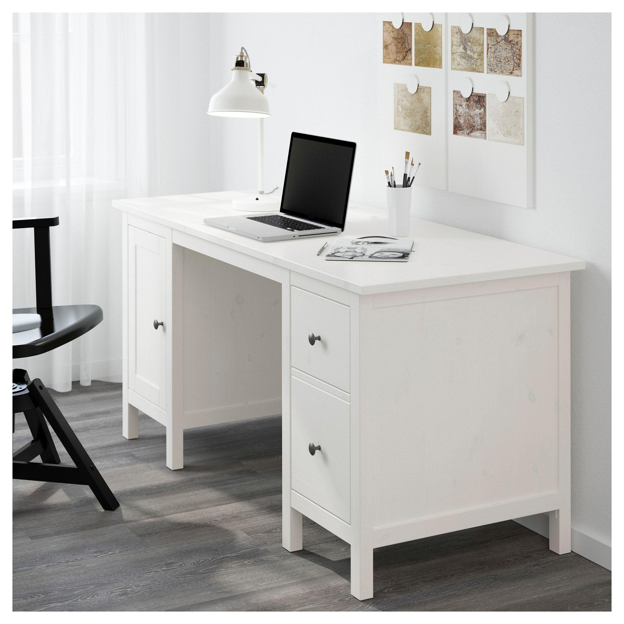 Hemnes Bureau Ikea Wit.Hemnes Bureau Wit Gebeitst Zolder In 2019 Ikea Desk
