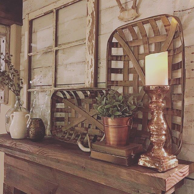 Love This Picture By Rustic Farmhouse Looks Fabulous Find Your Tobacco Farmhouse Decor Home Decor Tobacco Basket Decor