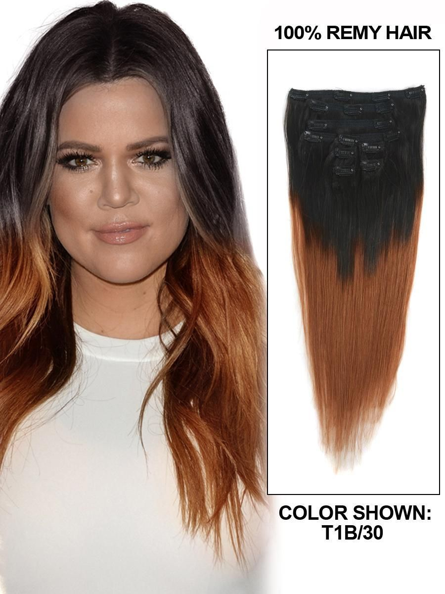 7a Best Quality Straight Brazilian Ombre Clip In Hair Extensions