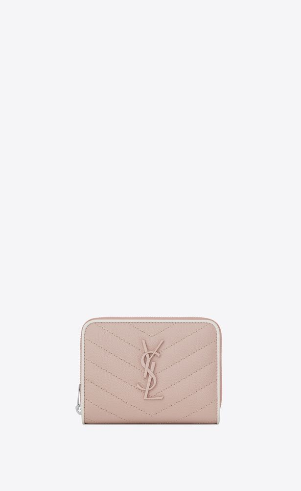 07e43b5a5b0 SAINT LAURENT Monogram Matelassé Woman compact zip around wallet in pink  and white textured quilted leather a_V4
