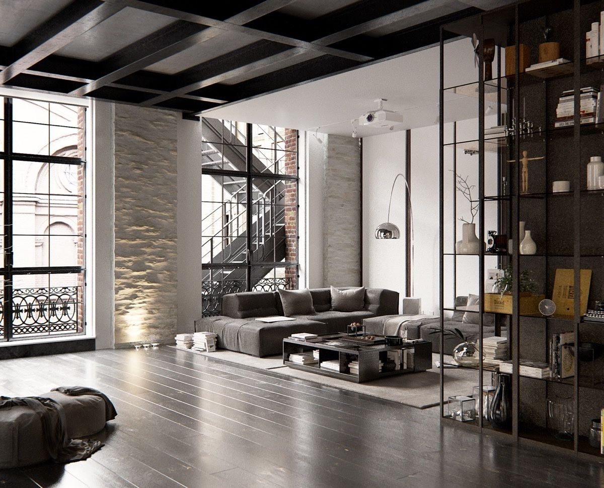 2 chic and cozy cosmopolitan lofts industrial spaces pinterest loft design loft interiors. Black Bedroom Furniture Sets. Home Design Ideas