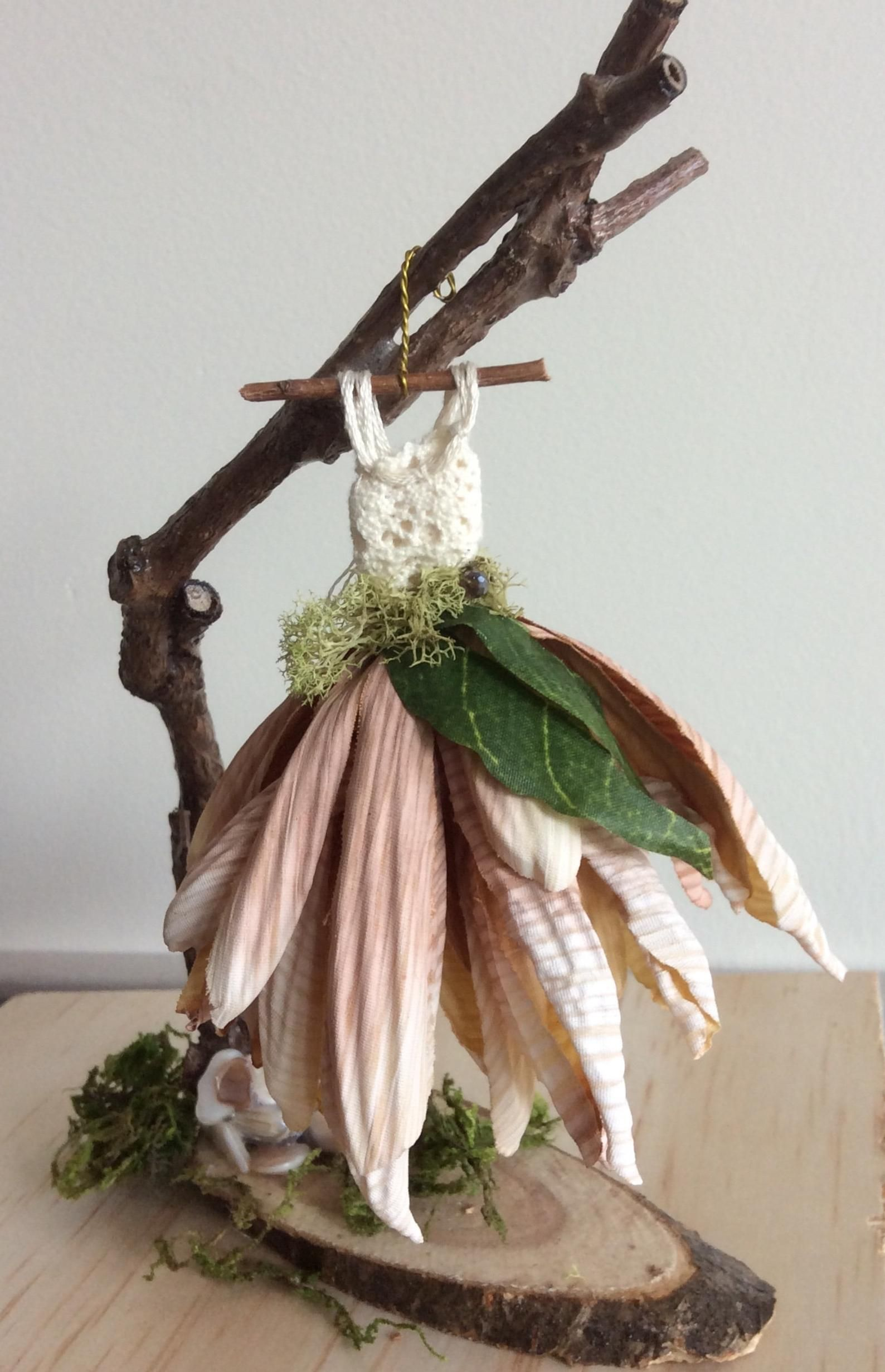 Photo of Fairy's Work by Olive* Miniatures , Dress Found in the Garden… Miniature Fairy Dress with Branch Dress Stand ~ Handcrafted by Olive