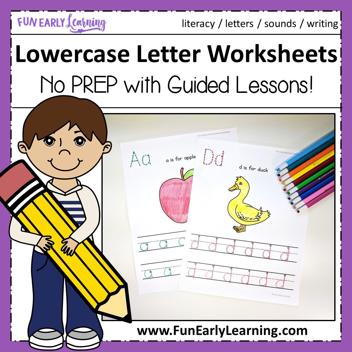 Lowercase Letter Worksheets With Guided Lessons