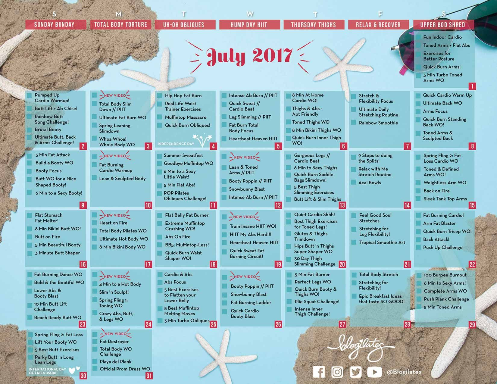 Your July Workout Calendar Blogilates Fitness Food And Lots