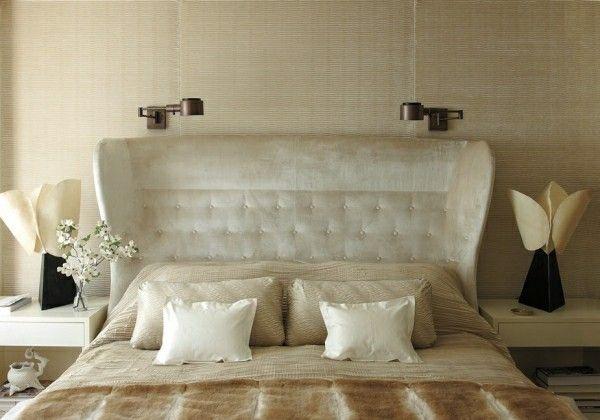 bett kopfteil luxus strahlendes weiß knöpfe Schlafzimmer Ideen
