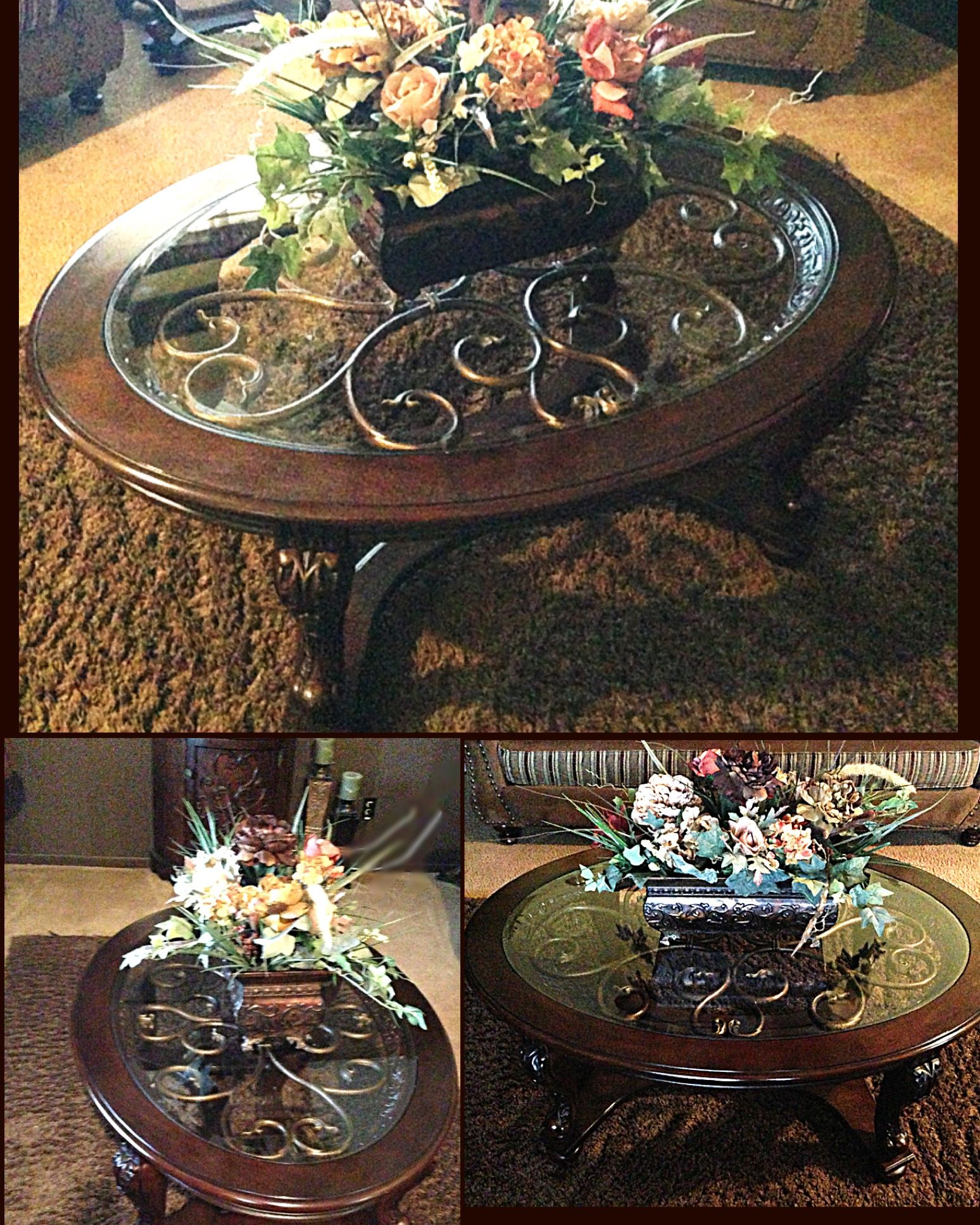 Ashley Furniture Coffee Table With Artificial Flower Arrangement  #HomeSweetHome Part 80