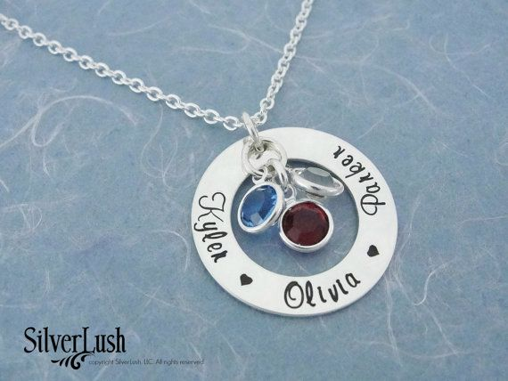 Sterling Silver Mother's Necklace with Three by SilverLush on Etsy