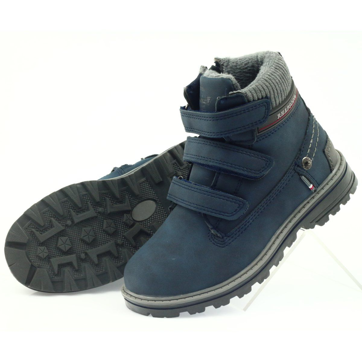 American Club American Kozaki Trzewiki Buty Zimowe 708121 Szare Granatowe Shoes Fisherman Sandal Sandals