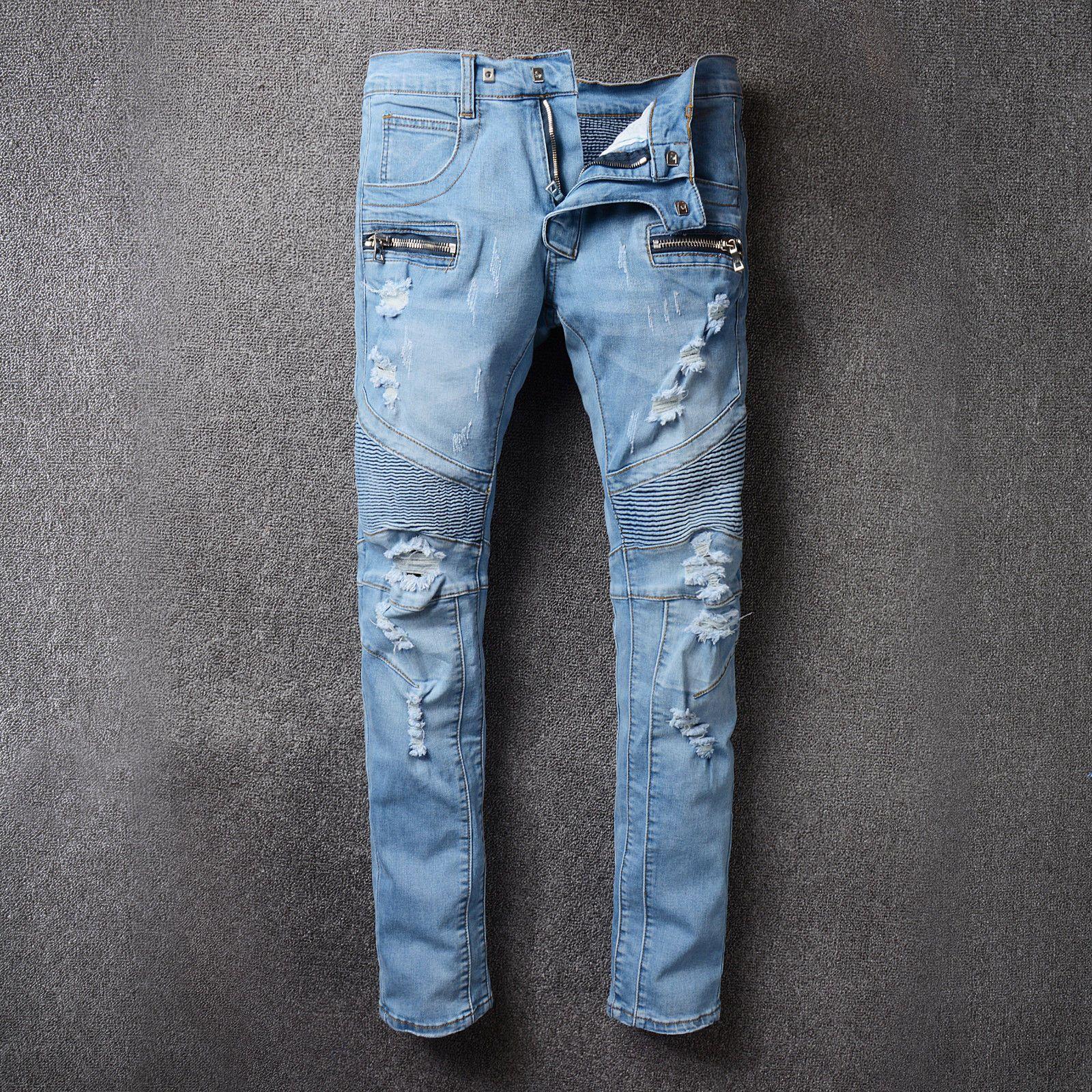 5e00e13d Hi-Q Vogue Men Moto Biker Jeans Pop Ripped Holes Distressed Jeans Size 29-