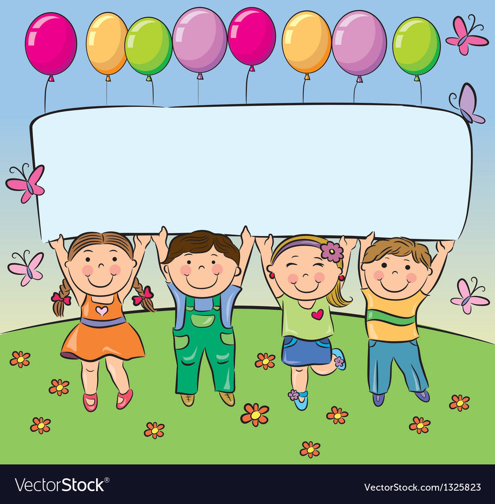 Summer Children Hold Blank Banner Royalty Free Vector Image Summer Kids Teacher Cartoon Blank Banner