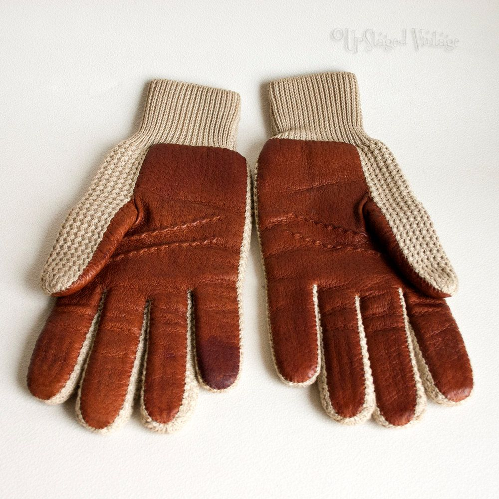 Driving gloves debenhams - Vintage Retro 1970s Men S Tan Leather Beige Mesh Driving Gloves By Upstagedvintage