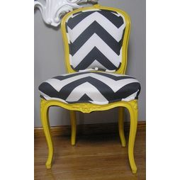 Yellow & Charcoal Chevron French Provincial Side Chair