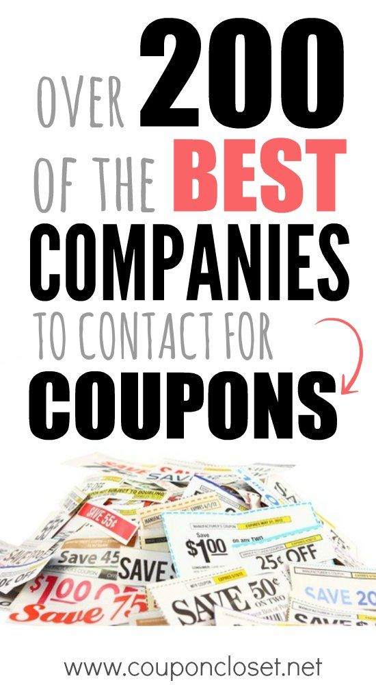 List of companies to email for coupons