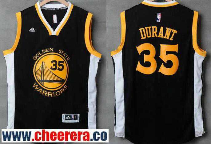 4767c56e3d3 Men's Golden State Warriors #35 Kevin Durant Black With White Edge Stitched NBA  Adidas Revolution 30 Swingman Jersey