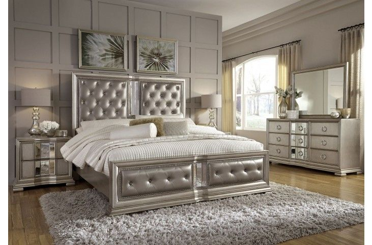 Couture Silver Panel Bedroom Set Pulaski Furniture