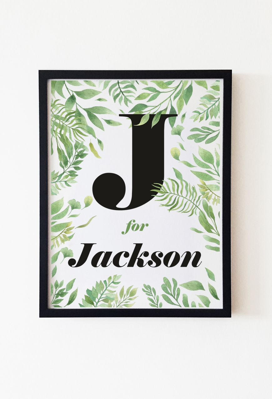 Custom boy name print in botanical style for boho nursery