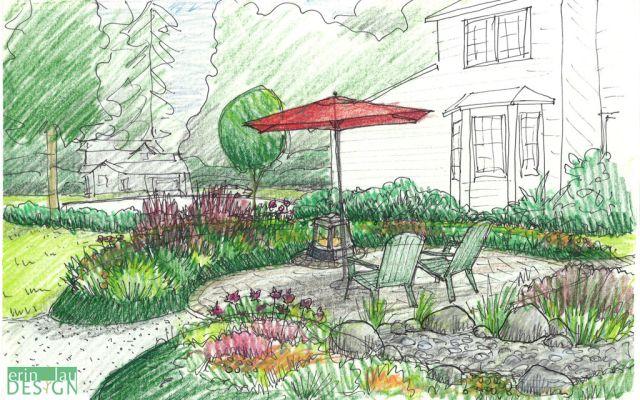 Mounded Planting Patio Design Sketch Landscape Design Drawings Landscape Architecture Perspective Landscape Design Services