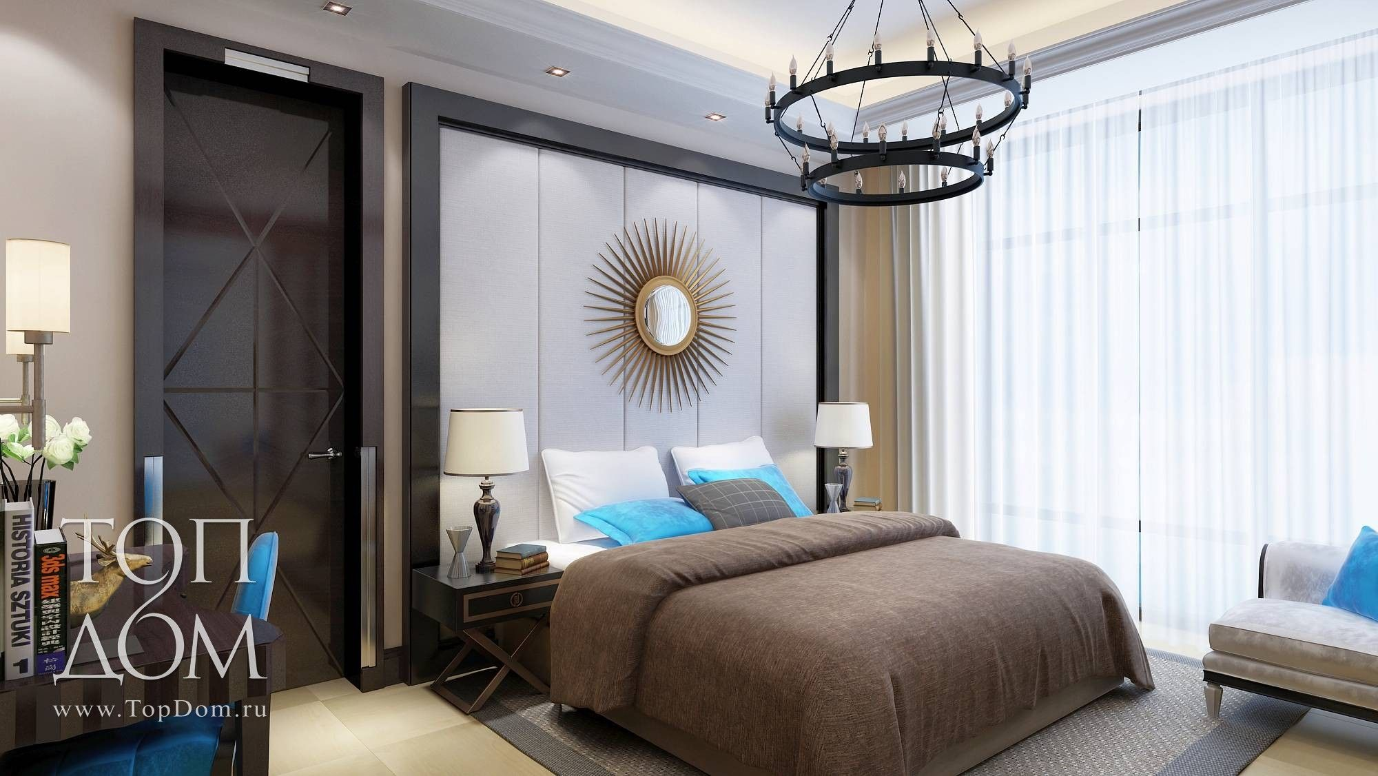 Interior Design Of The Bedroom In Brown Tones With Blue