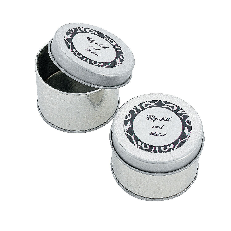 Personalized Classic Black & White Tins - OrientalTrading.com ...