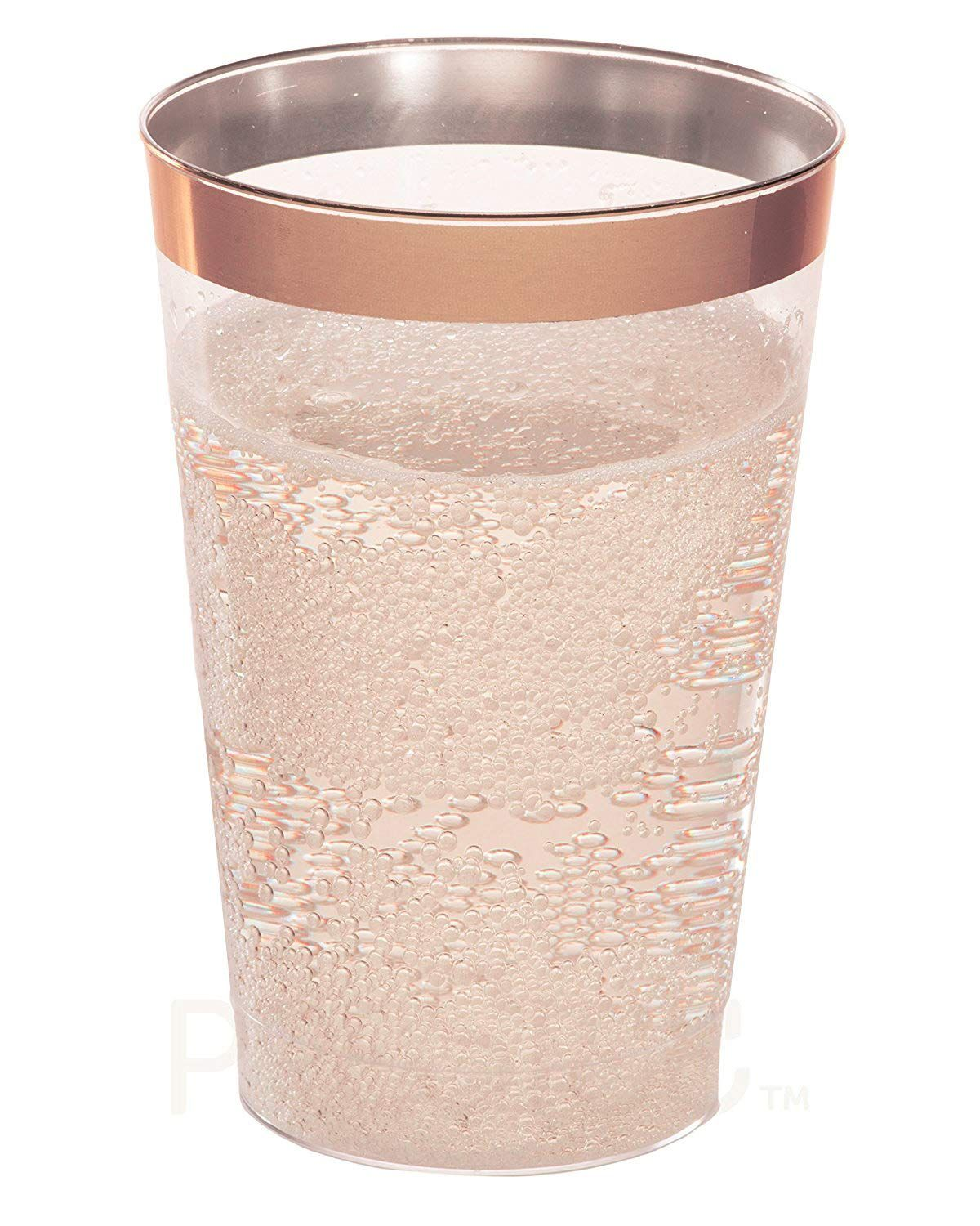 Golf Wedding Rose Gold Plastic Cups 12 Oz 50 Pack Hard Clear Plastic Cups Disposable Party Cups Fancy Wedd Plastic Tumblers Plastic Cups Rose Gold Rims