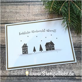 Gestempelte Weihnachts-Karten mit Weihnachten daheim von StampinUp!  Gestempelte... #stampinup!cards