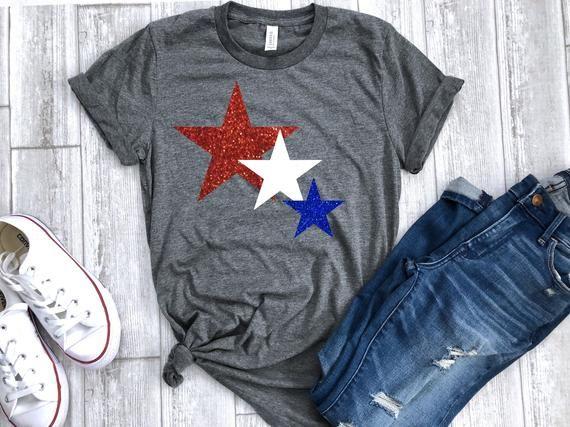 4th of July womens shirt star glitter shirt Glitter 4th of | Etsy