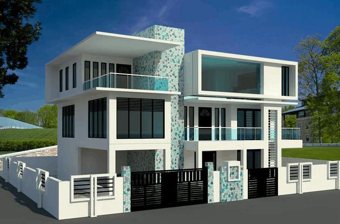 3d contemporary houses revit model revit residential for Architecture firms that use revit